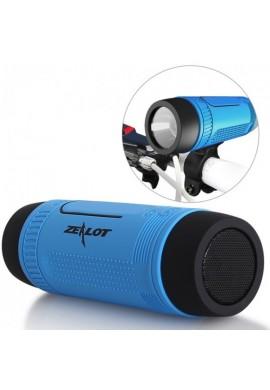 Parlante Bluetooth Zealot Linterna Power Bank Micro Sd Radio FM + Soporte para Bicicleta-Azul