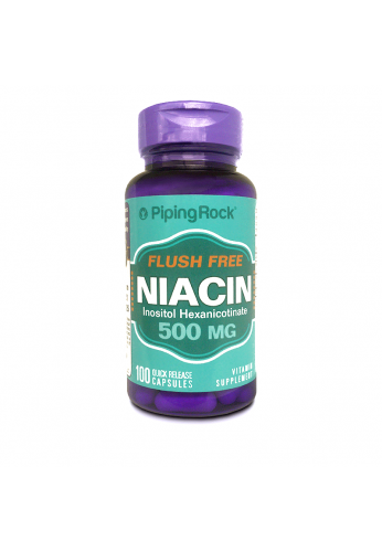 Niacin 500 mg 100 Caps Niacina Inositol x 100 caps Piping Rock