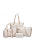 seis piezas Bolsa para mujer bolso + Bolsa de hombro + Messenger Bag + Bolsa de cuerpo cruzada + Wallet + bolsa de clave
