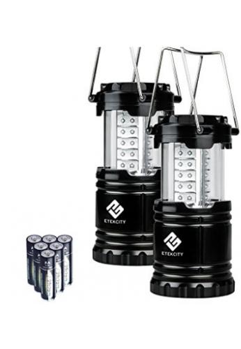 Etekcity portátil para uso en exteriores LED linterna de camping con 6 pilas AA, plegable, Negro, 2 count