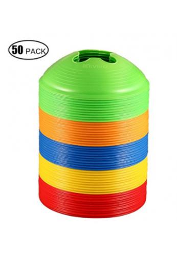 Conos Kevenz de discos para deporte (paquete de 50) (amarillo / rojo / verde / azul / naranja)